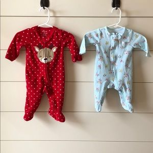 Set of 2 Carters sleep n plays size 3 months
